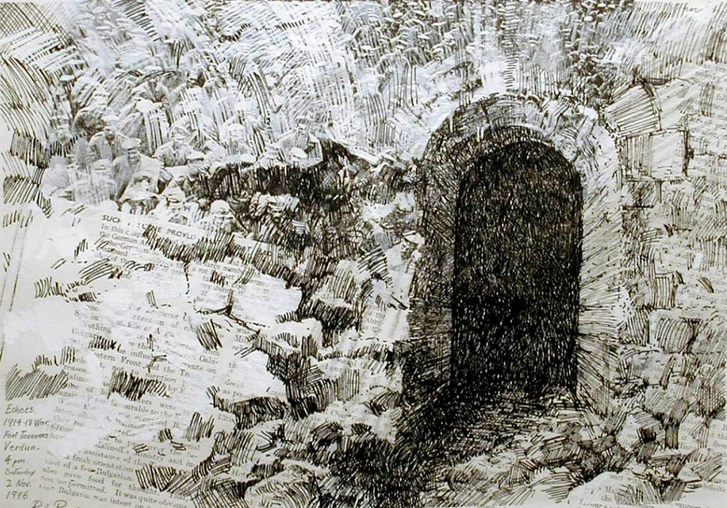 Subterranean Chamber, Fort Tavannes 4.00pm Sat 2 Nov 1996. Size A4. Pencil & ink over photocopy