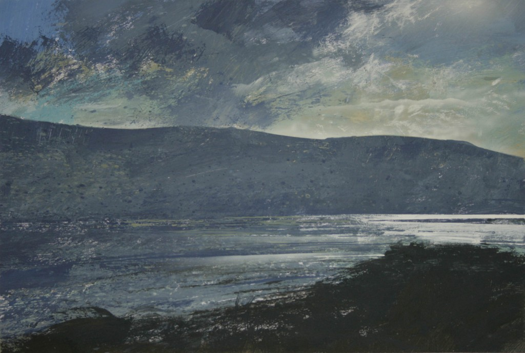 2.10pm 23 November 2014. Winter sunlight on the Mawddach Estuary. Size A3 Gouache