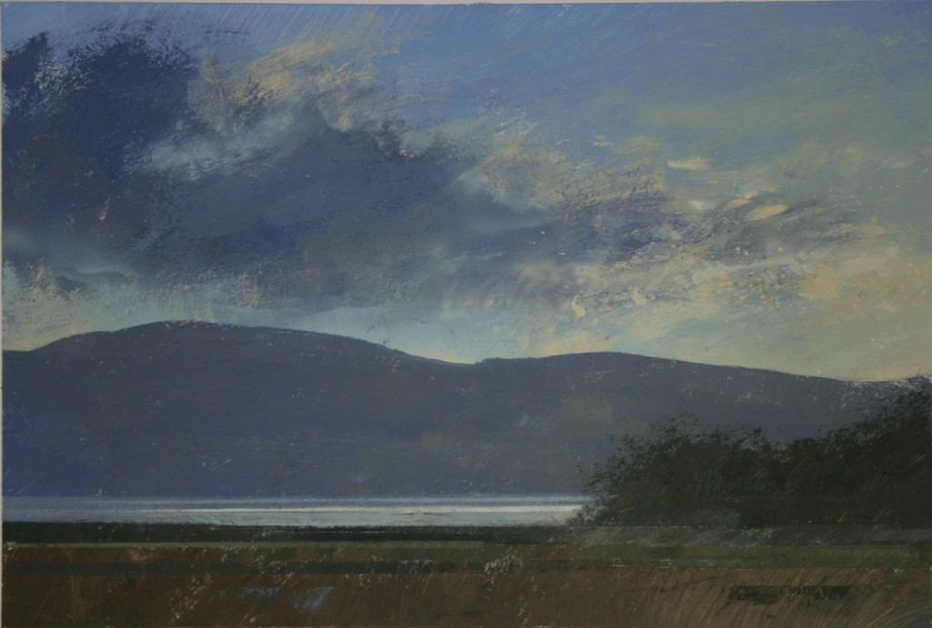 4.35pm, 23 November 2014. Low sun on the Mawddach Estuary. Size A3 Gouache