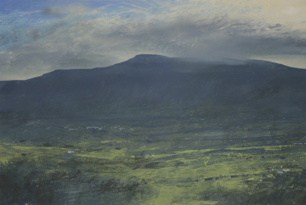 2.35pm, 24 November 2014. View of Cadair Idris and glimpse of Dolgellau. Size A3 Gouache