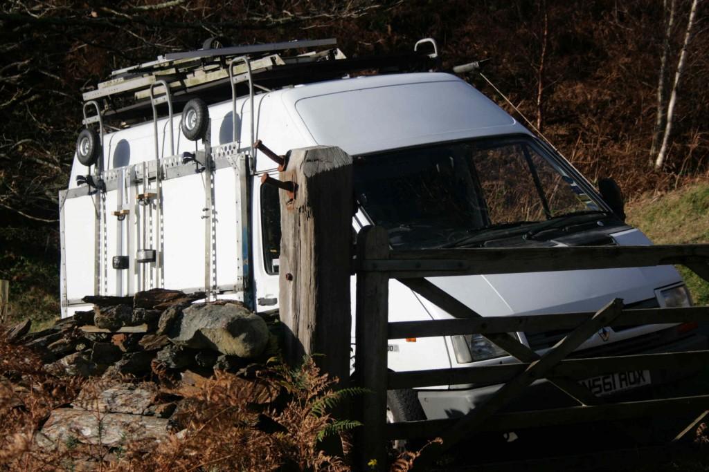23 Nov 2014.(LR) The van on location. Mawddach Estuary.