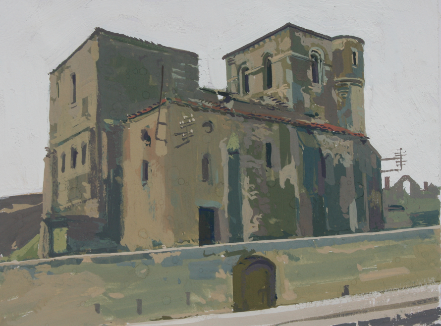 Orad94A4-03   3.15pm Sat 13 Aug 1994. Ruins of the Church at Oradour .  Size 14x20cms  Gouache