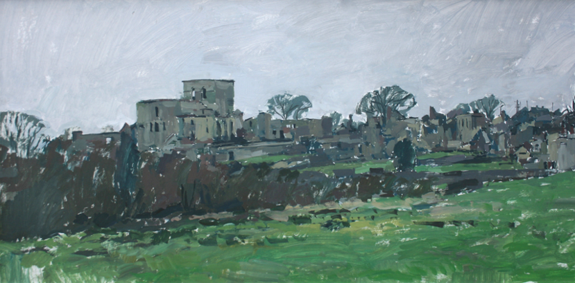 Orad95.24x48-01 5.45pm 7 Feb 1995. The ruins of Oradour.   Size 24x48 inches  (60x120cms)  Oil