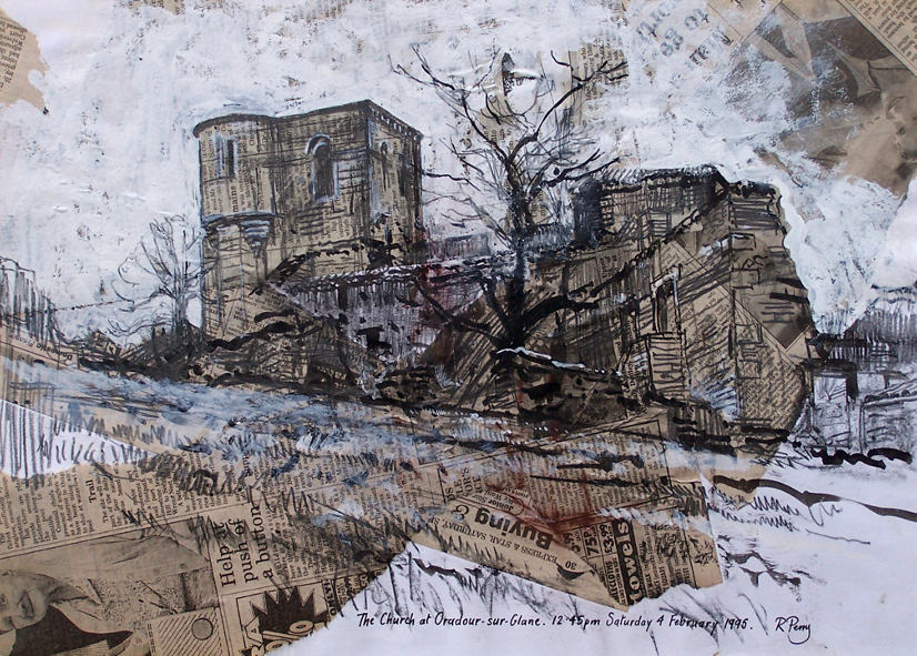 Orad95A3-01 12.45pm 4 Feb 1995.The Church at Oradour .   Size A3 (30x42cms)  Mixed media over newsprint