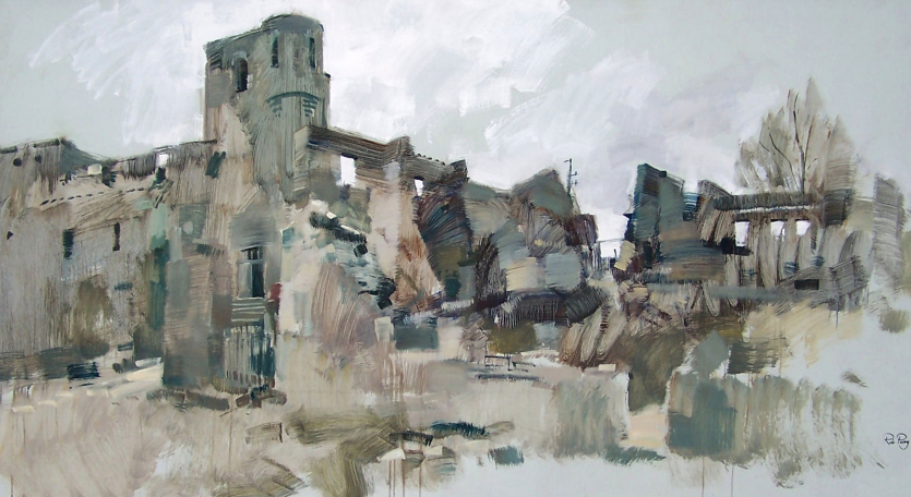 Orad97.48x96-01  6.30pm 18 Feb 1997. The ruined Church at Oradour.   Size 4ftx8ft  (120 x244cms)  Oil.