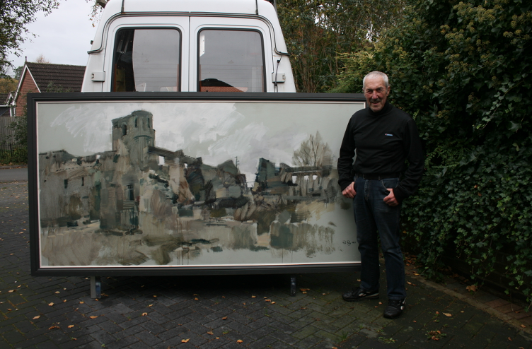 Orad9748x96-01 (D)  Rob with his painting of the Church at Oradour
