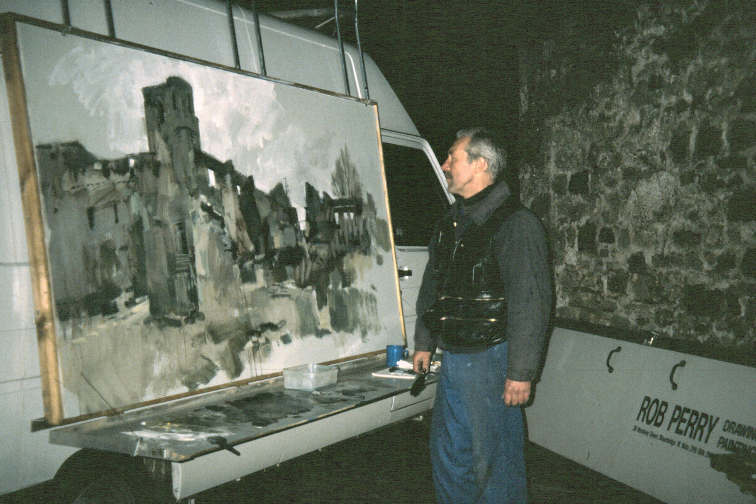 Orad9748x96-01 (C) Completing the painting of the Church. 6.30pm 18 Feb 1997.