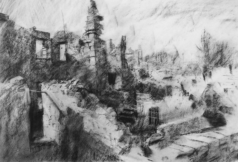 Orad97A3-01  GS 2.20pm 17 Feb 1997. Oradour-sur-Glane. The Martyr Village..  Size A3. Charcoal and  pen/ink.