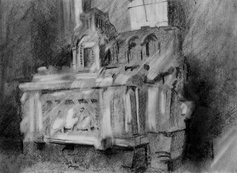 Orad97A4-09  12.10pm 13 Feb 1997. The carved stone Altar in the Church and the window through which Mme. Marguerite Rouffanche escaped..   Size A4. Graphite stick charcoal and eraser