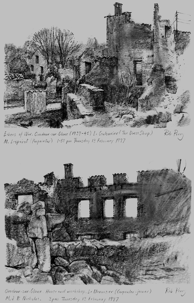 Orad97A4-10  Composite . Two small studies.   Sheet size A4.  Charcoal and ink. TOP           Orad97A4-10  (A) 1.50pm 13 February 1997.  Le Coutourier (The Dress Shop)  Proprietor M Lesparat BOTTOM  Orad97A4-10 (B) 3.00pm, 13 February 1997.  House and workshop, Le Menuisier (Carpenter-joiner)  Prop M. J B Nicholas
