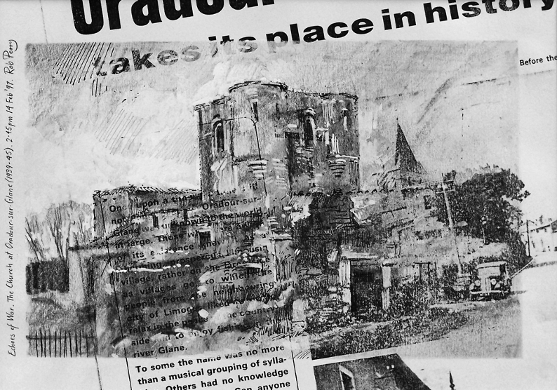 Orad97A4-11  2.45pm 14 Feb 1997. The Church of the Massacre.  Size A4.  Mixed media over pre-prepared randomised photocopy.