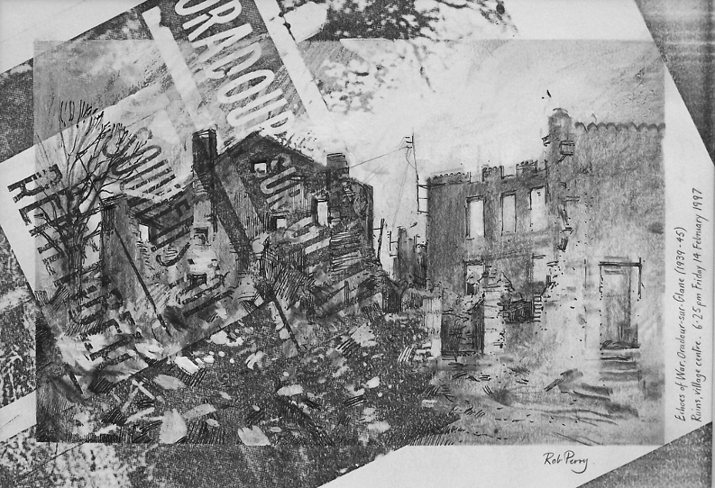 Orad97A4-12  6.25pm 14 Feb 1997. Ruins in the Village Centre  Size A4.  Mixed media over pre-prepared randomised photocopy.