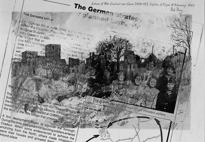 Orad97A4-14  6.35pm 15 Feb 1997. Oradour skyline.  Size A4.  Mixed media over pre-prepared randomised photocopy.