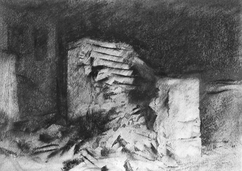 Orad97A4-15  9.30pm 15 Feb 1997. Stairway to nowhere.  Size A4.  Charcoal and ink.