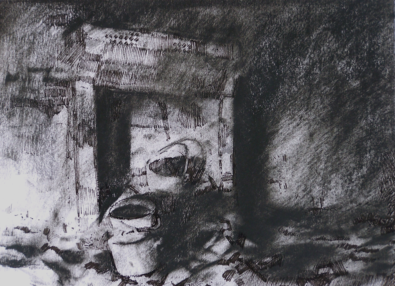 Orad97A4-16  11pm 15 Feb 1997. The House of M. Moreau, macon platrier (builder plasterer)  Size A4.  Charcoal and ink.