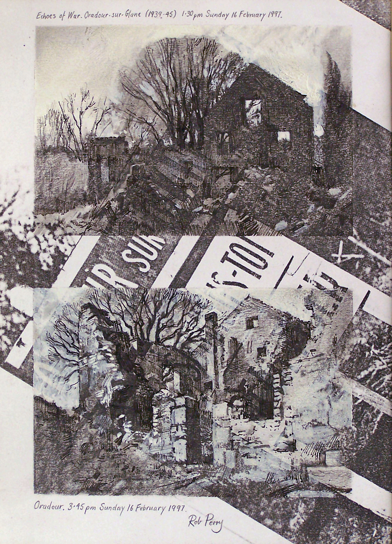 Orad97A4-17  Composite . Two small studies.   Sheet size A4.  Charcoal, ink and white gouache  over photocopy. TOP           Orad97A4-17  (A)  1.30pm 16 Feb 1997. Ruins at Oradour-sur-Glane BOTTOM   Orad97A4-17  (B)  3.45pm 16 Feb 1997. Ruins at Oradour-sur-Glane