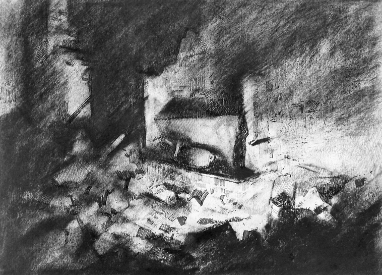 Orad97A4-18  8.45pm 17 Feb 1997. Fireplace in the house of M. J Valentin, Hairdresser.  Size A4. Charcoal and  pen/ink.