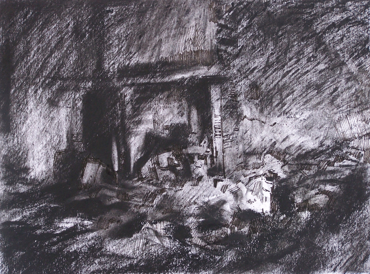 Orad97A4-19  11.45pm 17 Feb 1997. Interior. Fireplace in the house of the Pinere Family.  Size A3. Charcoal and  ink.
