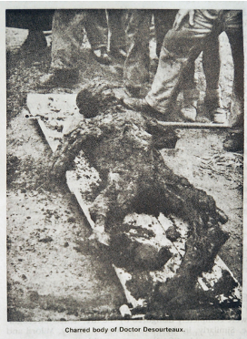 Orad97Ar-12  Archive. Charred corpse of Doctor Desourteaux