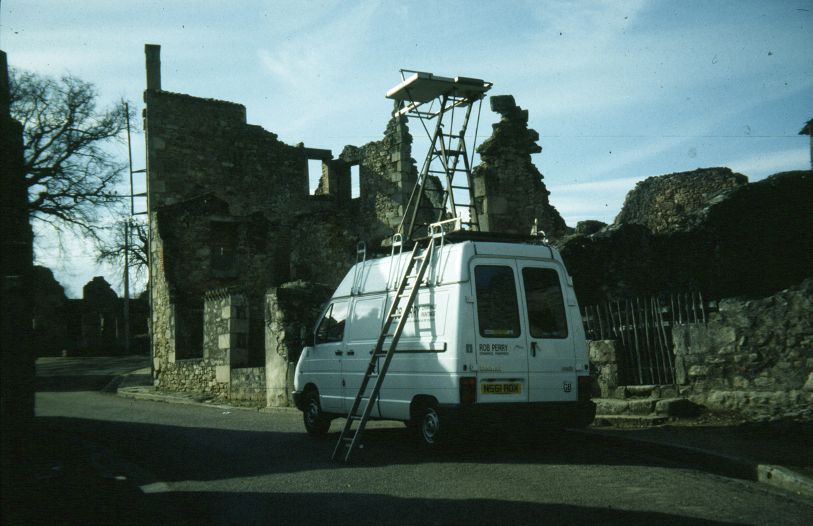 Orad97Ph-02 The Van in Rue Bordes, Oradour. 17 February ,1997  Photograph taken  from