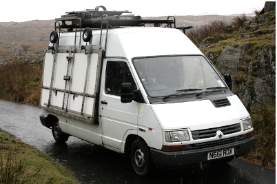 Photograph of the van with all of its external fittings mounted.