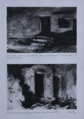 LEFT  Composite . Two small studies.   Sheet size A4. 30x21cms. Charcoal and ink   TOP Orad97A4-07 (A) 9.35pm 11 Feb 1997. Interior, ruins of The Oak Café   BOTTOM  Orad97A4-07 (B) 10.40pm 11 Feb 1997. Interior, ruined house, Oradour.