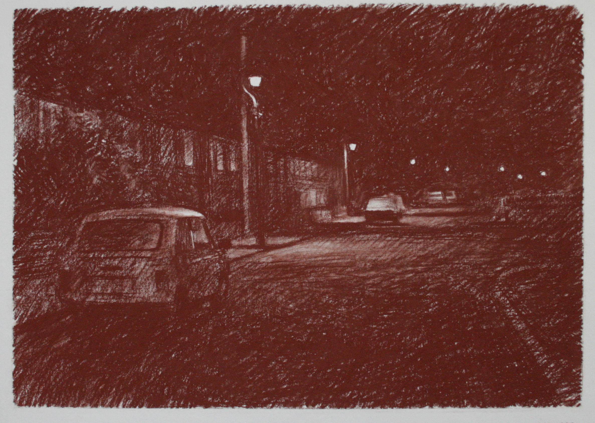 NwdA2-15  2.30am 25 September 1987. Ryder Street, Wordsley. Size A2. Conte crayon.  X
