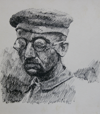 A German prisoner. Ink, brush and pen. Size A4 Drawn in 1968 EW.A3-01 (A) (EW,11)