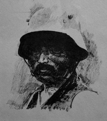 German Prisoner. Ink, brush and pen. Size A4 Drawn in 1968.  EW.A3-01 (B) (EW,11)