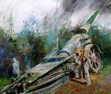 Artillery at Verdun. Drawn 1967, Size A3 Oil-Pastel   EW.A3-04 (EW,21)