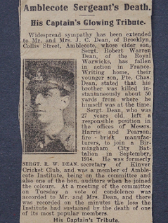 Bob Dean (1888 - 2 Sept 1916) No known grave. Newspaper cutting announcing his death. EW.10, Archive.