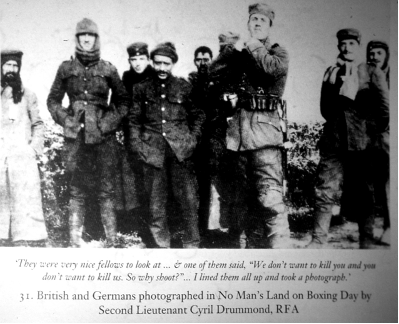 British and Germans photographed in No Man's Land on Boxing Day by Second Lieutenant Cyril Drummond RFA