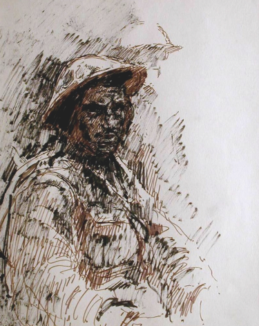 A British soldier waiting in the trenches. 1916. Brush-and-ink, Fibre tipped pen. Size A3.   Drawn C1965/69 EW.A3-05 (EW,7)