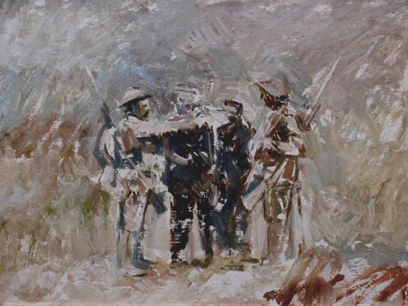EW.A4-05 (EW,8)  British soldiers giving water to German prisoners. Oil. Painted 1969