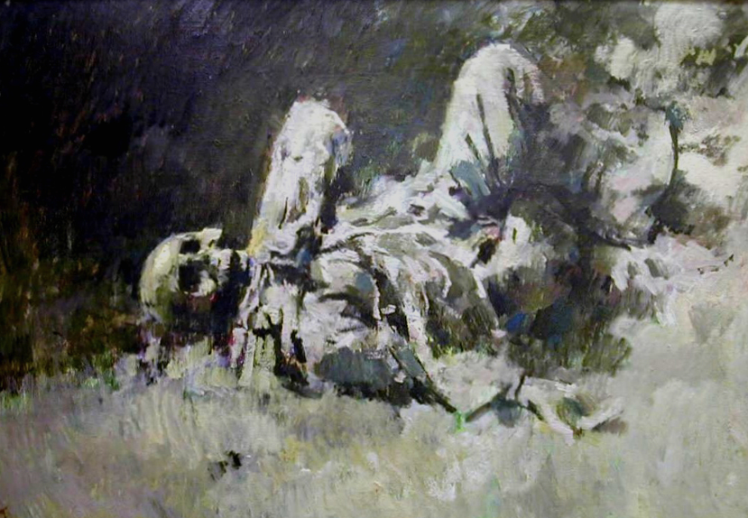 German Corpse. Beaumont Hamel 1916.   33x47 inches (84x120cm) Oil. Painted 1969.   EW.A0-02 (EW,12)