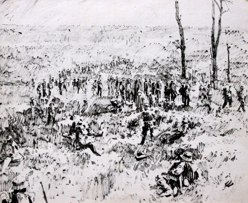 German Troops retreating, Chemin de Fers. Brush and ink. Drawn 1969     EW.A3-02 (EW,14)