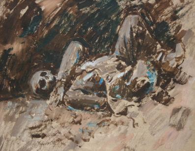German corpse at Beaumont Hamel Painted 1968   .Size A3  Oil.    EW.A2-01 B (EW,20)