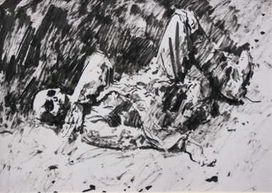 German corpse at Beaumont Hamel. Drawn 1968. Size A4. Brush and ink.   Study for a painting EW.A3-06A (EW,10)