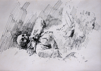 German corpse at Beaumont Hamel. Drawn 1968. Size A4. Pen and ink.  Study for a painting EW.A3-06B  (EW,10)