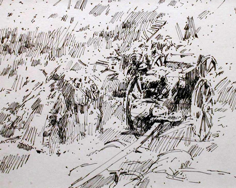 Muleteers and ammunition carriages, Somme. 1916  Drawn 1967.  Pen and ink    EW.A4-02 (EW,16)