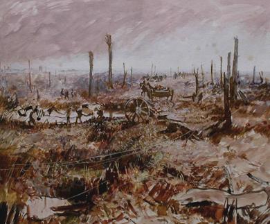 Passchendael. The Menin Road. Painted 1967. Size A3  Gouache   EW.A3-03 (EW,17)