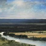 7.20pm 18 July 2007. View of the Seine Valley near Pont de l' Arche Size 16 x 32 inches. Oil