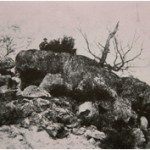 Diaz and Corot sitting on boulders in the Gorges d' Apremont, near Barbizon. 1854. Photo