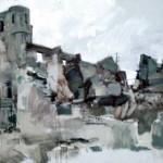 The ruined Church at Oradour. 6.30pm Tues 18 Feb 1997. 48 x 96 inches. Oil