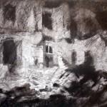 Oradour 97. The house of M Desourteaux. 11pm Sun 23 Feb 1997 A3 Charcoal-ink.