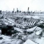 Auschwitz-Birkenau. Destroyed latrine block.4pm Thur 8 May 1997. A4 Charcoal-ink