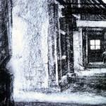 Auschwitz-Birkenau.'Death Barrack'. 11.30am Wed 7 May 1997. A4. Charcoal-ink