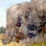 """Blockhaus """"C"""" near La Flamengrie. 4.30pm Mon 8 July 2002. 48 x 72 inches. Oil (detail)"""