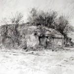 "Blockhaus ""A"" near Houdain Lez Bavay. 20 Nov 2001. A3 Graphite-ink."