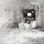 "Interior of Blockhaus ""A"" near La Flamengrie. 2.30pm 22 Nov 2001. A3 Graphite-ink"